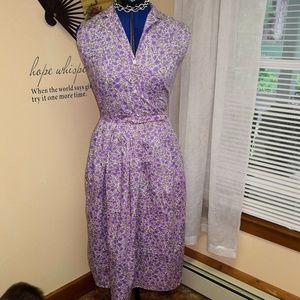 Vintage 1950s purple floral dress